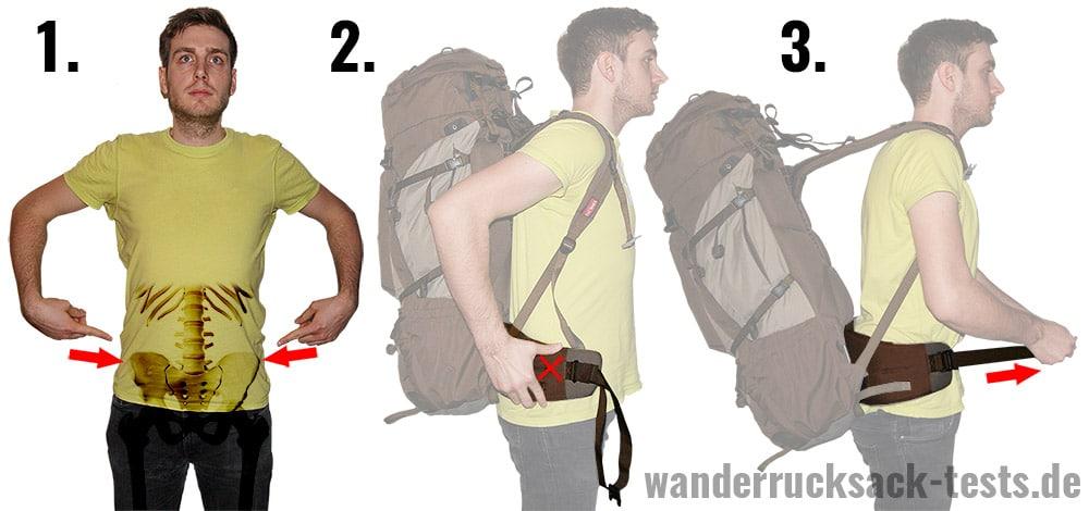 Rucksack einstellen: Hüftflosse platzieren