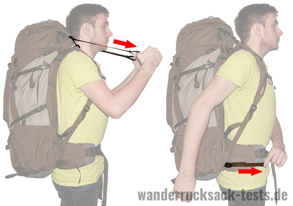 Rucksack einstellen: Lageverstellriemen