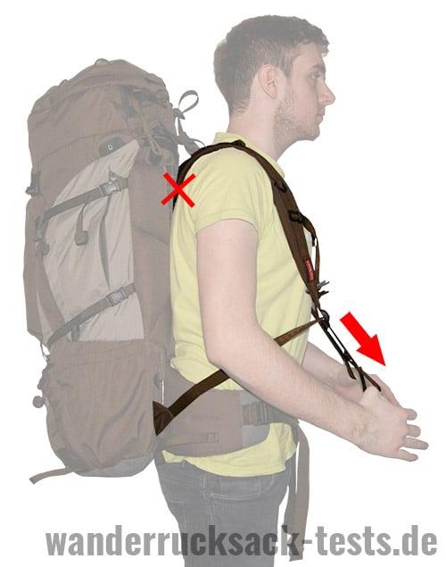 Rucksack einstellen: Schultergurte festziehen