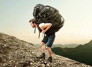 Wanderrucksack viel zu schwer, falsch gepackt