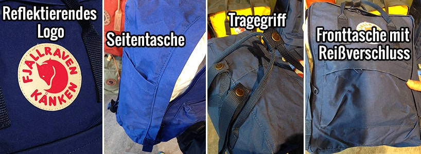 Reflektierendes Logo, Seitentasche, Tragegriff und Fronttasche des Kanken