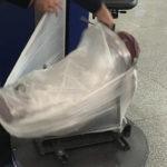 Trekkingrucksack im Flugzeug