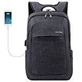 Slotra Laptoprucksack USB-Ladeanschluss Business 15.6 Zoll Slim Backpack Schule Outdoor Resien(dunkelgrau)