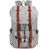 Fresion Nylon Rucksack Laptoprucksack Damen Herren Schulrucksack Retro Backpack für Campus Studenten und Outdoor Reisen Wandern (Nylon Grau)